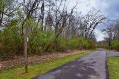 Взгляды природы и троп вдоль Greenway дн Shelby и естественных следов frontage Рекы Cumberland зоны, hardw bottomland стоковое изображение