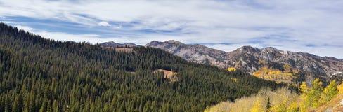 Взгляды пропуска гвардейца панорамного ландшафта пропуска от стороны Брайтона долиной на полпути и Heber вдоль фронта Уосат стоковые фотографии rf