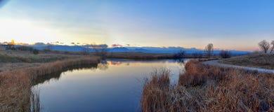 Взгляды пути пруда Josh's идя, отражая захода солнца в Broomfield Колорадо окруженном Cattails, равнин и Ла скалистой горы стоковая фотография rf