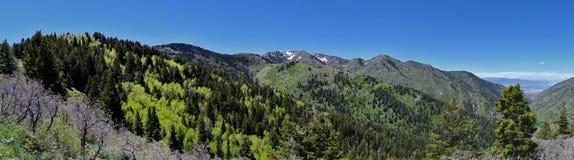 Взгляды Tooele от гор Oquirrh вдоль гор Уосата передних скалистых, медным рудником Kennecott Рио Tinto, смотря внутри Стоковое фото RF