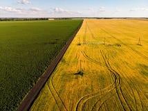 взгляд аграрных полей от высот в России стоковое фото rf