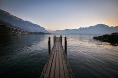 Взгляд Альпов и Монтрё, Швейцария Стоковая Фотография