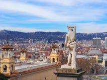 Взгляд Барселоны от замка Montjuic Стоковые Изображения