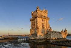 Взгляд башни Belem в Лиссабоне, Португалии Стоковые Изображения RF