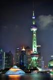 взгляд башни shanghai перлы ночи фарфора востоковедный Стоковое Фото