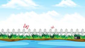 Взгляд берега реки с милым насекомым иллюстрация вектора