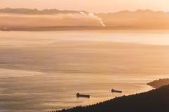 Взгляд Ванкувера от горы тетеревиных в северном Ванкувере, ДО РОЖДЕСТВА ХРИСТОВА, Канада стоковое фото