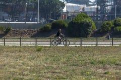 Взгляд велосипедиста, задействуя, на пути пешехода/велосипеда eco, Leca da Palmeira, стоковые изображения rf