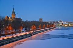Взгляд вечера деревни собора и рыб в зиме Калининград Стоковые Изображения
