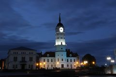 Взгляд вечера ратуши Mogilev стоковое изображение rf