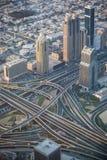 Взгляд взаимообмена от верхней части в Дубай, ОАЭ Стоковое Изображение