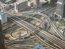 Взгляд взаимообмена от верхней части в Дубай, ОАЭ Стоковое Изображение RF