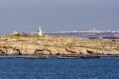 Взгляд взморья от Bugibba Мальты Стоковая Фотография RF