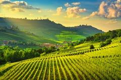 Взгляд виноградников Langhe, Barolo и Ла Morra, Пьемонт, Италия Европа стоковая фотография