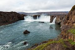 Взгляд водопада Godafoss, Исландии Стоковая Фотография RF