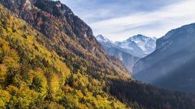 Взгляд воздушное 4k долины падения горы осени швейцарский акции видеоматериалы