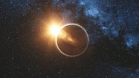 Взгляд восхода солнца на Марсе в солнце испускает лучи от космоса