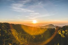 Взгляд восхода солнца на Doi Inthanon Стоковая Фотография