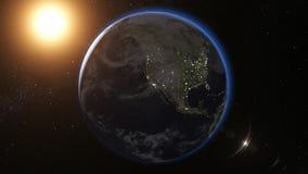 Взгляд восхода солнца от космоса на земле планеты 3d представляют иллюстрация вектора