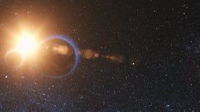 Взгляд восхода солнца от космоса: Реалистическая земля с луной иллюстрация вектора
