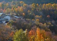 Взгляд высокогорного горного села Introd, Аосты, Италии Стоковое Изображение