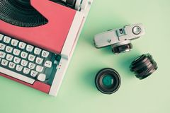 Взгляд высокого угла машинки и оборудования фотографии стоковые фото