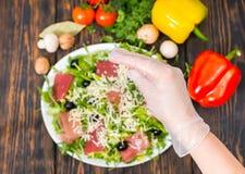 Взгляд высокого угла овощей, рука в удерживании перчатки заскрежетал chee стоковые изображения rf