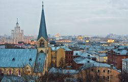 Взгляд в городе Москвы стоковые фотографии rf