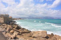 Взгляд в пляже почти ираклионе на Крите Стоковые Изображения