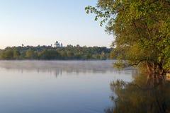 Взгляд в утре реки Desna, Украины Стоковое Изображение