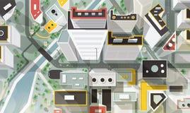 Взгляд глаза верхней части, антенны или птицы s города с зданиями современной архитектуры, небоскребов, улиц, реки и моста бесплатная иллюстрация