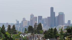 Взгляд горизонта севера Сиэтл осматривая от парка Jefferson сток-видео