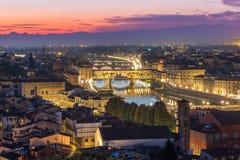 Взгляд горизонта Ponte Vecchio Флоренса панорамный Стоковая Фотография