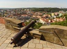 Взгляд города Брна от замка Spilberk, чехии Стоковое Фото