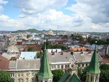 Взгляд города Львова от высоты Стоковое Фото