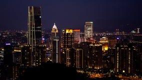 Взгляд города Тайбэя на nighttime Стоковое Изображение
