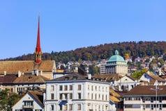 Взгляд города Цюриха в осени Стоковые Изображения RF