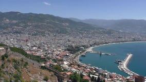 Взгляд города Alanya, Турции Взгляд от верхней смотровой площадки видеоматериал