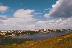 Взгляд города Nizhny Tagil от вершины горы Стоковые Фотографии RF
