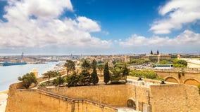 Взгляд городка Валлетты с древними стенами стоковое изображение rf