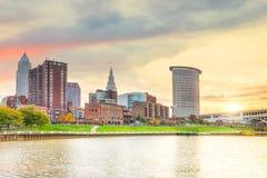 Взгляд городского горизонта Кливленда в Огайо США стоковые фотографии rf