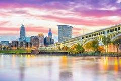 Взгляд городского горизонта Кливленда в Огайо США стоковая фотография rf