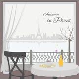 Взгляд городского пейзажа Парижа от окна кафа бесплатная иллюстрация