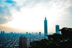 Взгляд городского пейзажа Тайбэя от горы слона Стоковое Изображение
