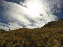 Взгляд гор в Capilla del Monte, rdoba ³ CÃ, Аргентине на озере Лос Alazanes Стоковые Изображения RF