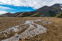 Взгляд гор Landmannalaugar радуги Стоковые Изображения RF