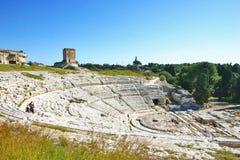 Взгляд греческого театра Сиракуза - Сицилии стоковое фото rf