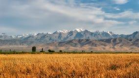 Взгляд грозы к Кыргызстану в южном взятии Казахстана стоковые фото