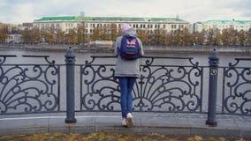 Взгляд девушек от заднего положения на пристани Молодая женщина в теплых одеждах стоя на стальных перилах пристани Взгляды осени акции видеоматериалы