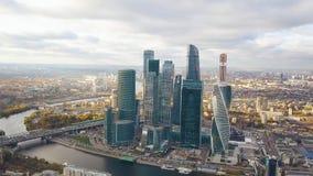 Взгляд делового центра Москвы Москвы Moskva-города международного, России зажим Взгляд сверху пышного дела стоковые фото